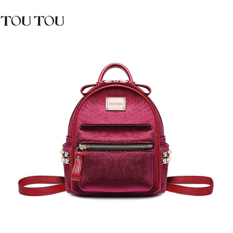 TOUTOU Velvet small backpack new high quality joker mini rivet institute wind small bag fashion and personality Free shipping цена
