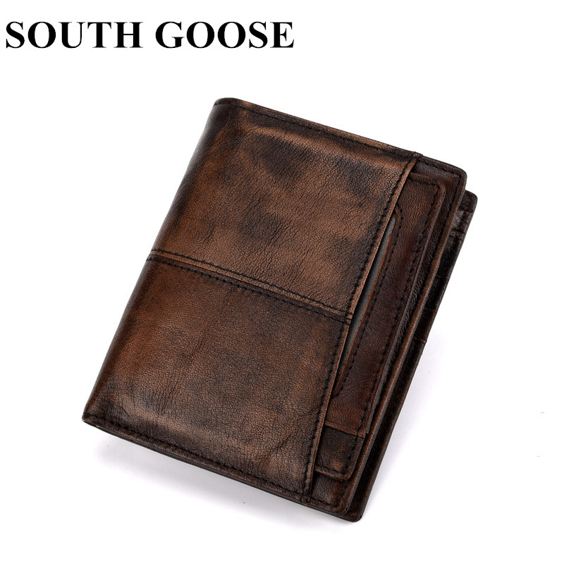 SOUTH GOOSE 2018 New Genuine Leather Men Wallet Top Quality Vintage Cowhide Short Wallets Male Leather Purse With Coin Pocket new luxury brand 100% top genuine cowhide leather high quality men long wallet coin purse vintage designer male carteira wallets