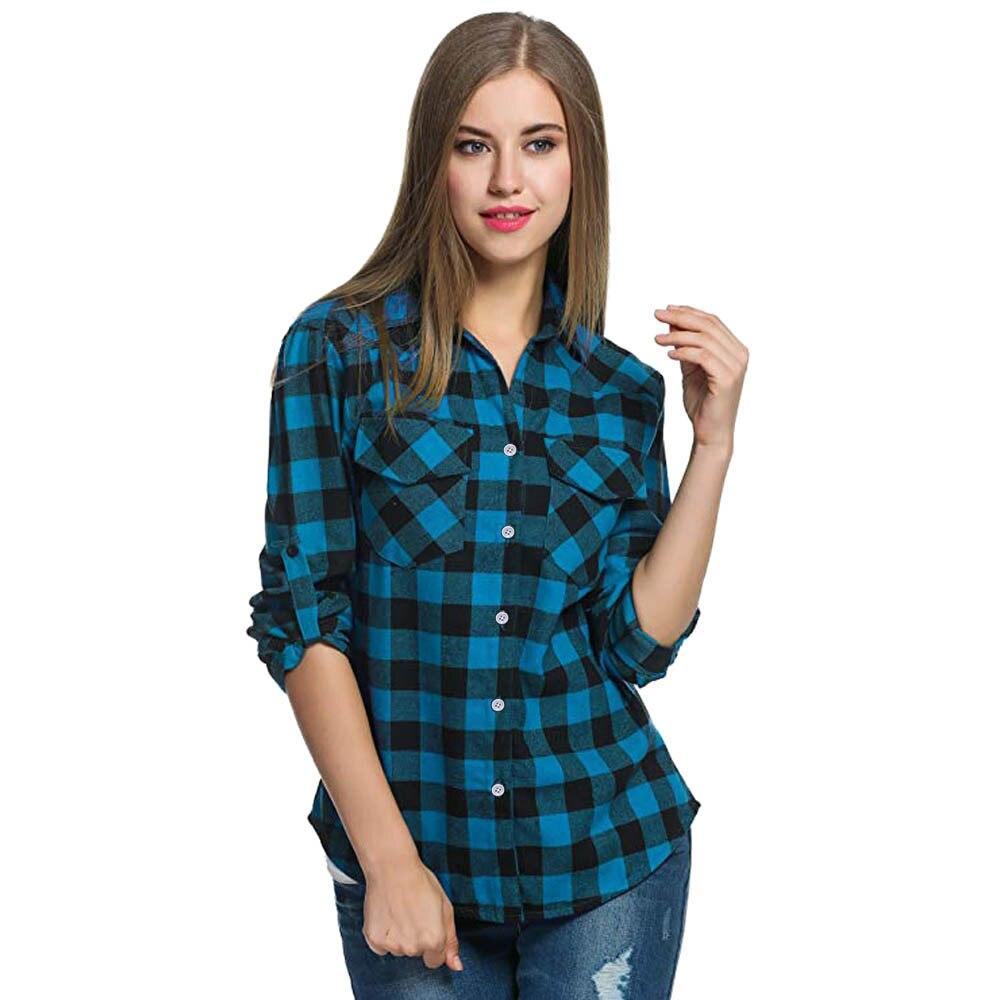 aa17babb50 Camicie in flanella a quadri scozzesi da donna Camicetta arrotolata con  maniche corte