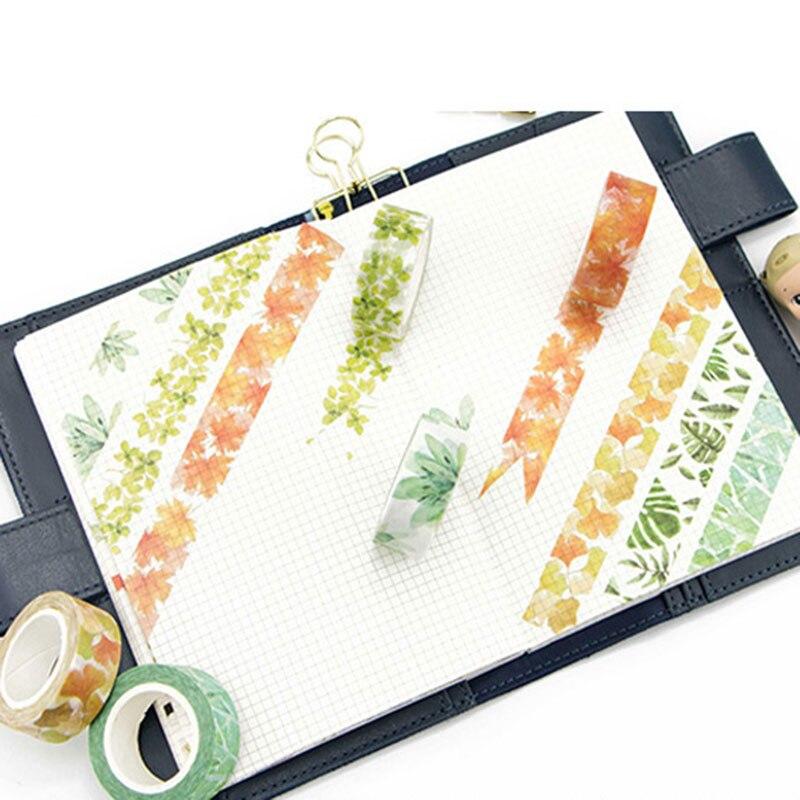 Купить с кэшбэком Green plants series 15 mm X 7 m washi tape children DIY Diary decora masking tape stationery scrapbooking tool stationery