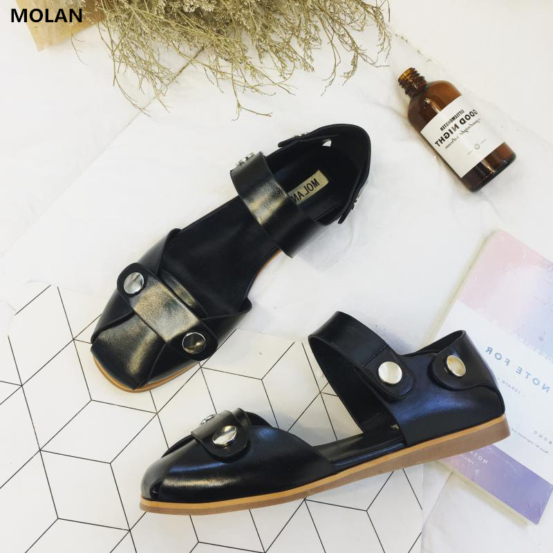 MOLAN Brand 2018 New Fashion Square Toe Hook & Loop Woman Sandals Good Quality Pigskin Leather Metal Rivet Girls Shoes Loafers