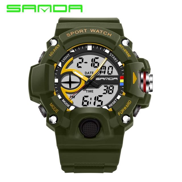 SANDA Мода Часы Мужчины Водонепроницаемый СВЕТОДИОДНЫЙ Спорт Военные Часы S-shock мужская Аналоговый водонепроницаемый Цифровой relogio masculino horloges
