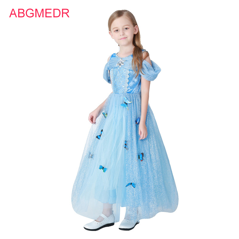 Toddler Girls Cinderella Dress Children Sequined Butterfly Princess Dress Kids Evening Party Clothes Halloween Cosplay Costume