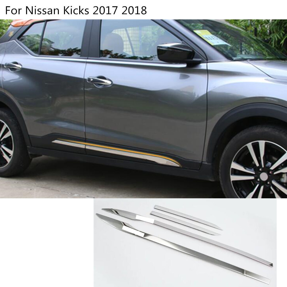 car styling cover stainless steel Side Door Body trim frame stick Strip Stream Molding 4pcs For Nissan Kicks 2017 2018