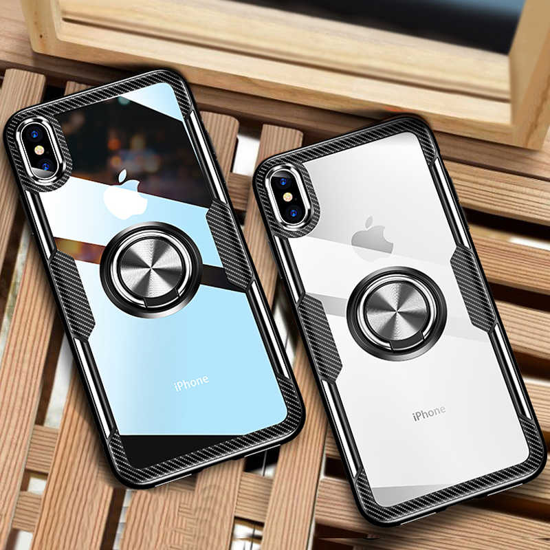 Luxe Auto Houder Ring Case Op De Voor IPhone XS Max XR X Telefoon Case Cover Voor IPhone XR X XS Max Soft Silicone Bumper Case