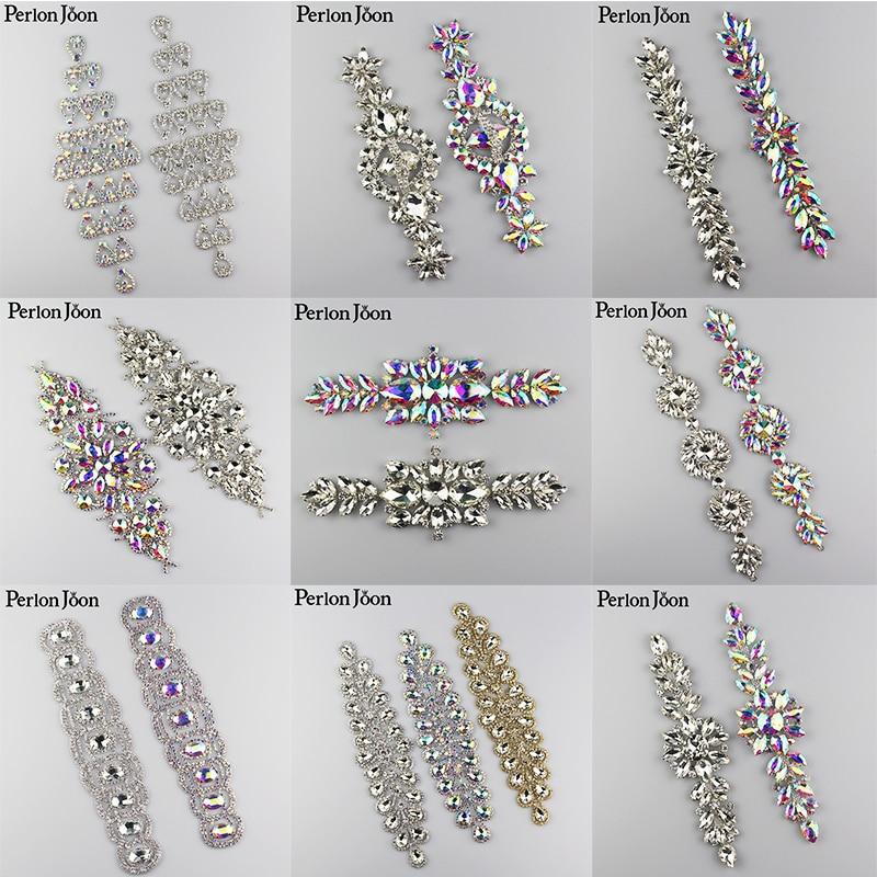10 piezas de espumosos mucho AB Rhinestone apliques de cristal parche decoración coser la ropa para las mujeres vestido de boda-in Diamante de imitación from Hogar y Mascotas    1