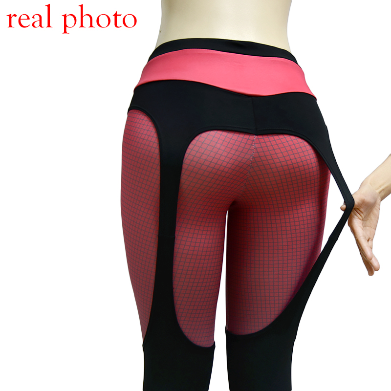 Patchwork push up leggings women sportswear plaid gradient color