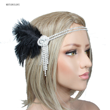 Элегантный серебро горный хрусталь повязка на голову невесты с черным пером блеск Кристалл женские головные уборы для свадьбы свадебный головной убор
