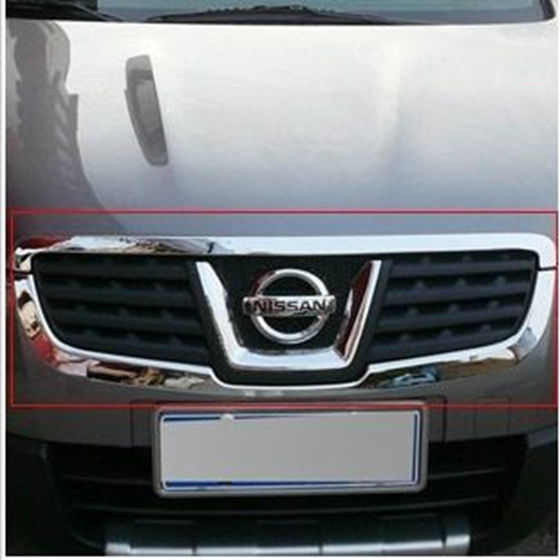 Car Accessories Exterior ABS Chrome Front Center Grill Grille Cover Trim For Nissan Qashqai 2007 2008 2009 2010 2011 2012 2013 for nissan teana altima 2013 2014 2015 abs chrome front bottom grill cover grilles trim cover car styling accessories