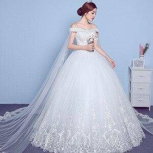 Image 3 - Lace Appliques Big Embroidery Wedding Dress 2020 New Arrival Sexy Boat Neck Off the Shoulder Korean Plue Size vestido de noiva