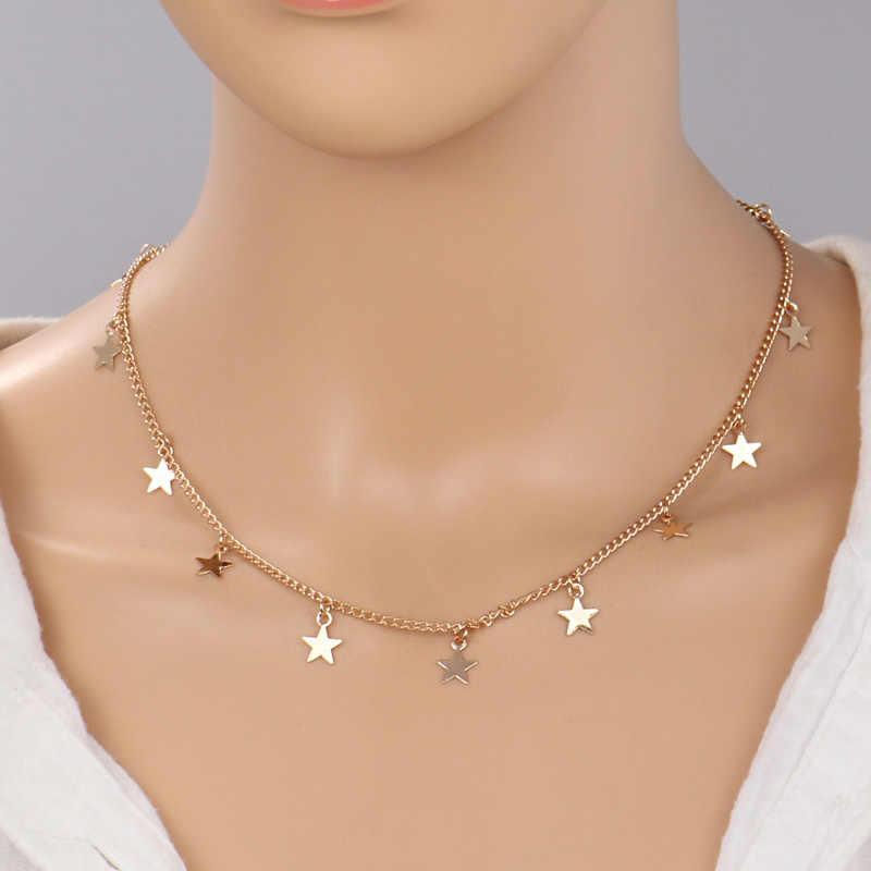 Ltumbe Лидер продаж бусы листья в виде звезды и сердца кисточкой Многослойные блестящие цепочки ожерелья для женщин бижутерия в богемном стиле колье