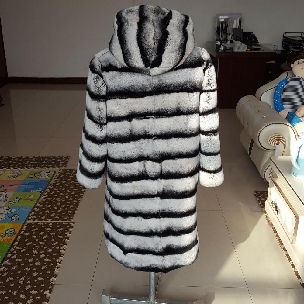 Nouveau Designer Les Chinchilla Fourrure Long D'hiver Beige Vintage Naturel Pour Manteau Avec Femmes 80 Lapin Cm Veste Rex Col De Capot rxdBCoeW