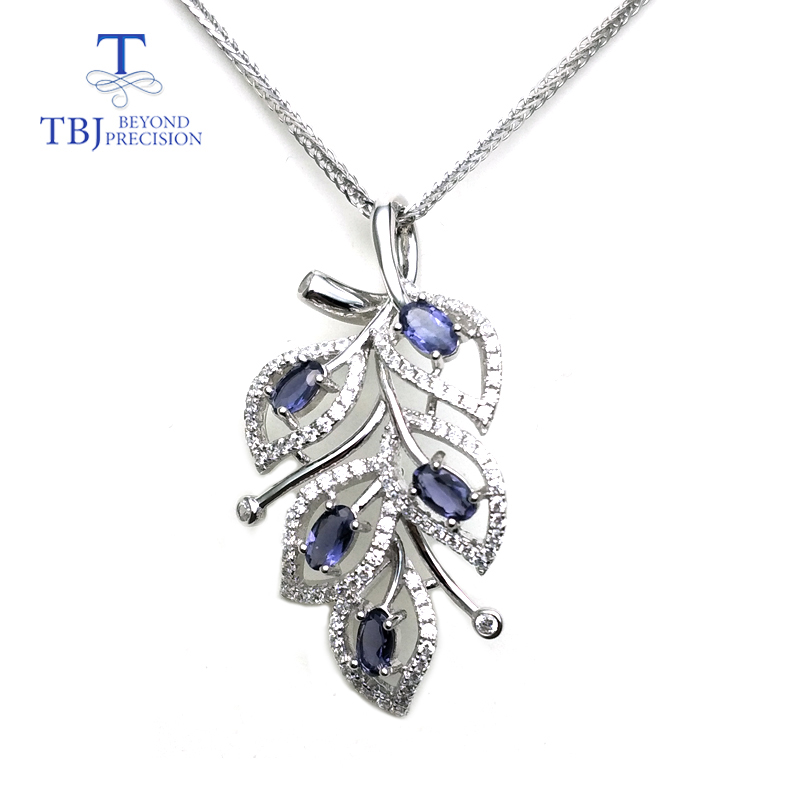 TBJ,Natural iolite Gemstone Pendant in 925 sterling silver Tree leaf pendant for women as anniversary birthday special giftTBJ,Natural iolite Gemstone Pendant in 925 sterling silver Tree leaf pendant for women as anniversary birthday special gift