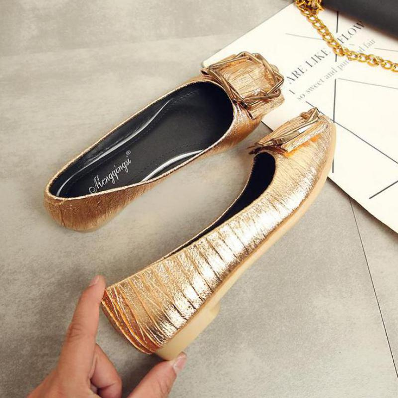Plus Size 35 43 Women Silver Flat Shoes Comfortable Casual Loafers Fashion Soft Ladies Party Pointed Toe Shallow Single Shoes