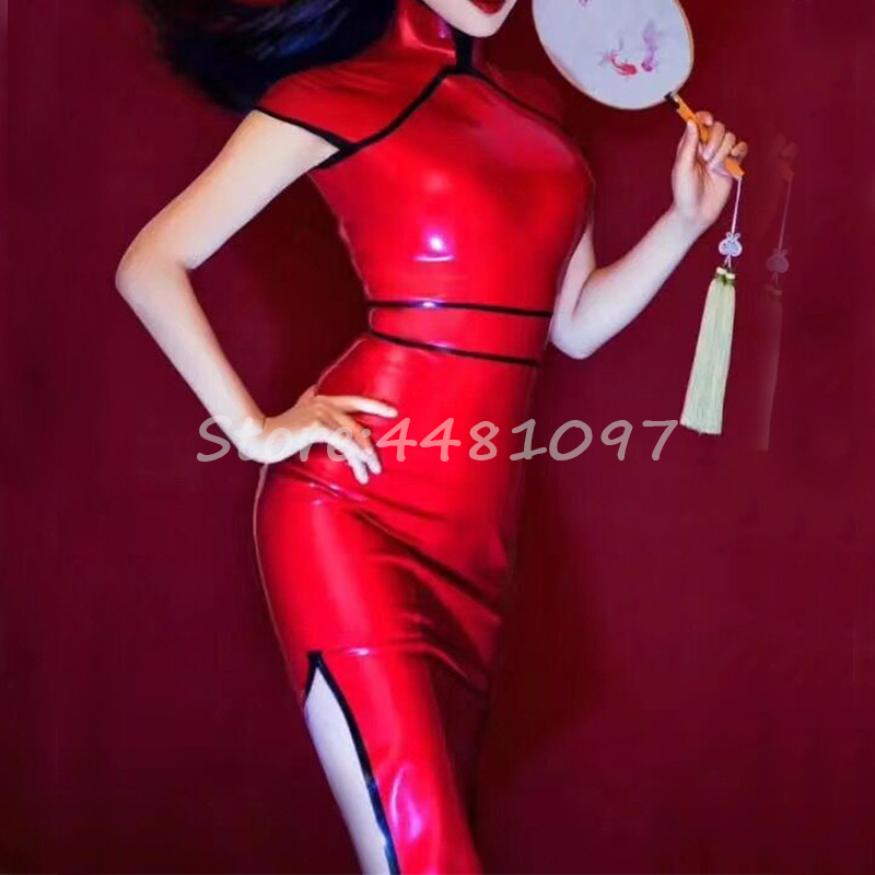 Chinese Style Red Woman Latex Rubber Dress Handmade Rubber Female slim Erotic Dress for Woman Girls