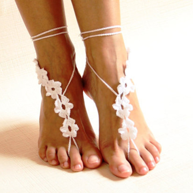 Blanco crochet las sandalias descalzas/zapatos Nude joyería/Pie/dama ...