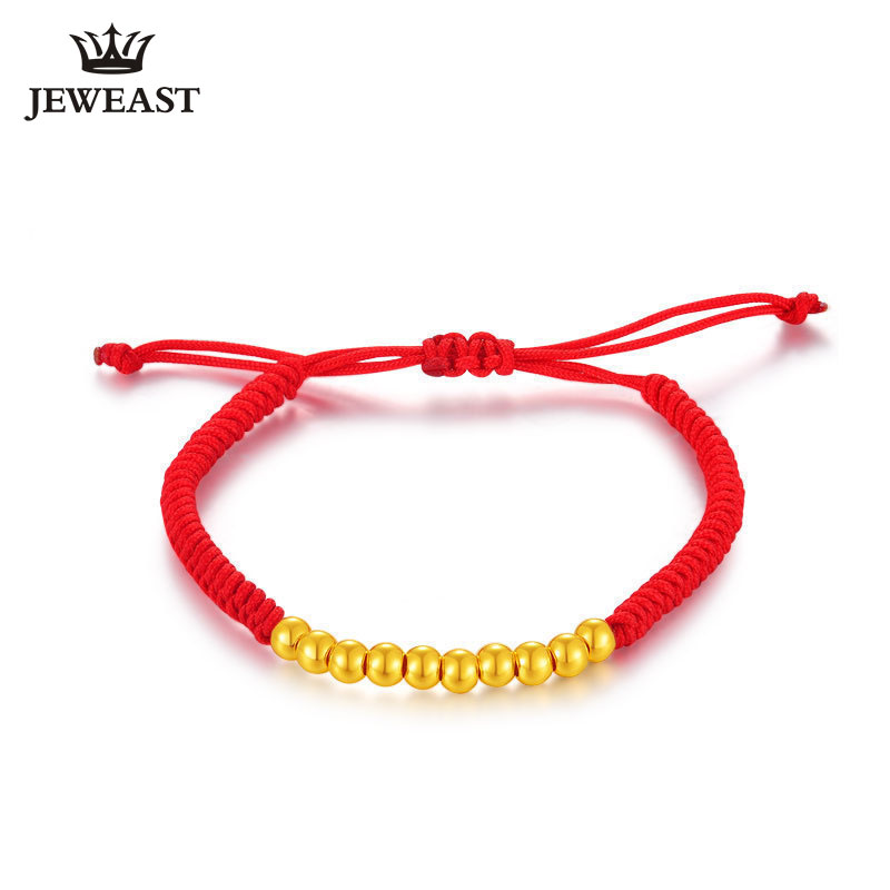 цена на 24K Pure Gold Bracelet Real 999 Solid Gold Bangle Red Rope Mini Beads Baby Gift Trendy Classic Fine Jewelry Hot Sell New 2018