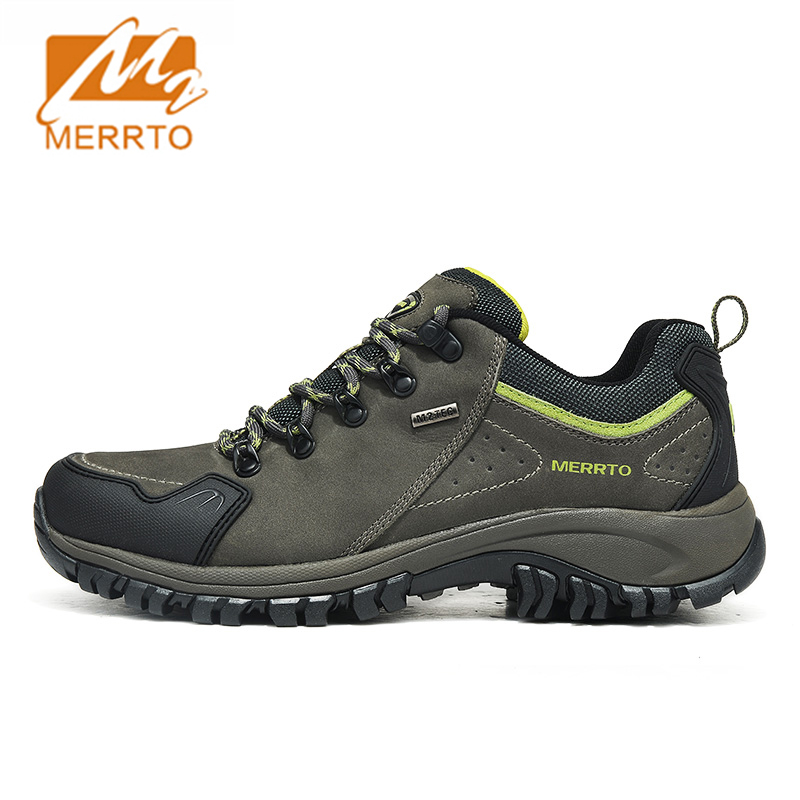 Merrto Waterproof Hiking Shoes Men Outdoor Sports Shoes Genuine Leather Sneakers Breathable Walking Mountain Trekking Shoes Men waterproof hiking shoes breathable men sneakers lace up anti slip outdoor travel walking sports shoes mans footwear xyd118