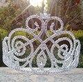 Larege desfile de altura grande de cristal corona de la tiara de la boda tiara corona preciosa. por encargo tiara silver crystal tiara peine del pelo