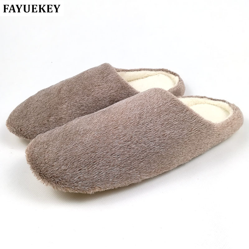 FAYUEKEY 2 Colors New Fashion Soft Sole Autumn Winter Warm Home Cotton Plush Slippers Men Indoor\ Floor Flat Shoes Boys Gift