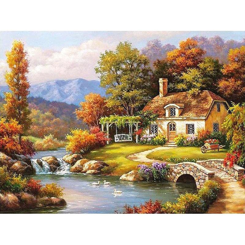 Autumn River Landscape DIY Painting By Numbers Kit Paint ...