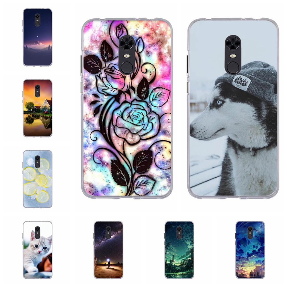 For Xiaomi Redmi 5 Plus Cover Ultra-thin Soft TPU Silicone Case Scenery Patterned plus Shell Capa