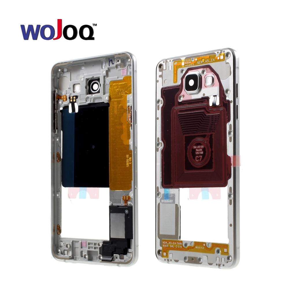 Original Middle Bezel Frame For Samsung A5 A510F A510M 2016 Metal Frame Bezel Housing Chassis NFC Side Key Replacemenrt