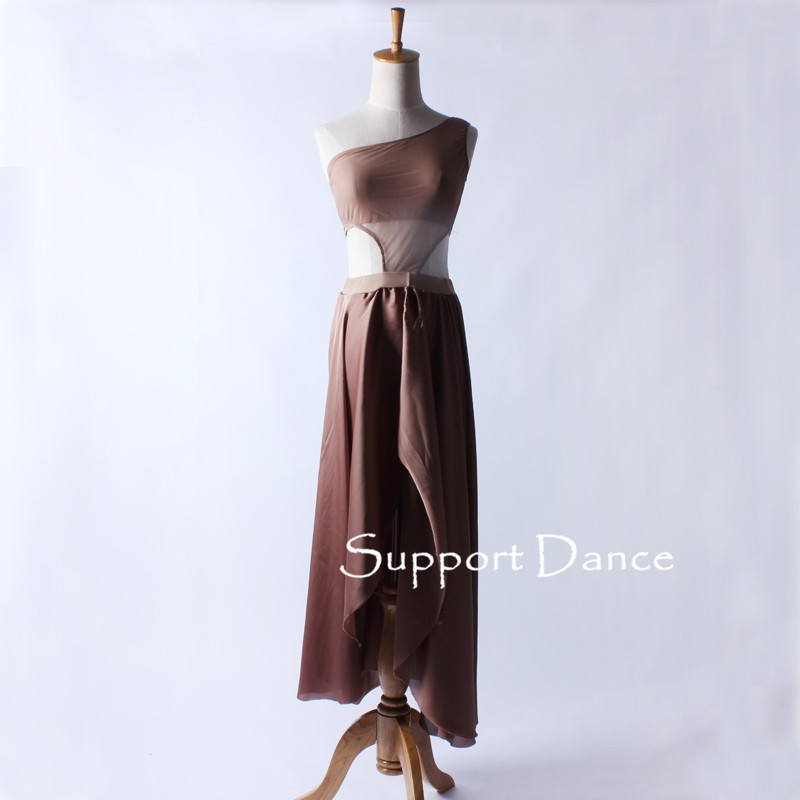 Mesh Chiffon Long Latin Dress Toddler Girls Women Fashion Coffee Contemporary Dance Costume C283