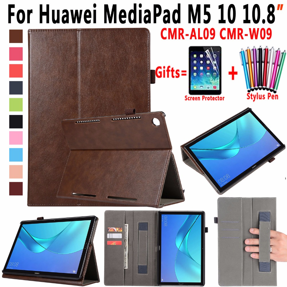 Premium Leather Cover for Huawei MediaPad M5 10 10.8 inch CMR-AL09 CMR-W09 Cover For Huawei Mediapad M5 10 Pro Case with Stand case for huawei mediapad m5 10 8 inch cmr al09 wireless bluetooth keyboard protective mediapad m5 10 pro 10 8 tablet cover case