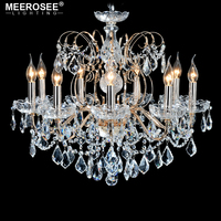 European Fashion Crystal Chandelier lamp 9 Arms Candle Lights Lighting Fixtures Iron Home Lighting E14 E12 Retro Chandeliers