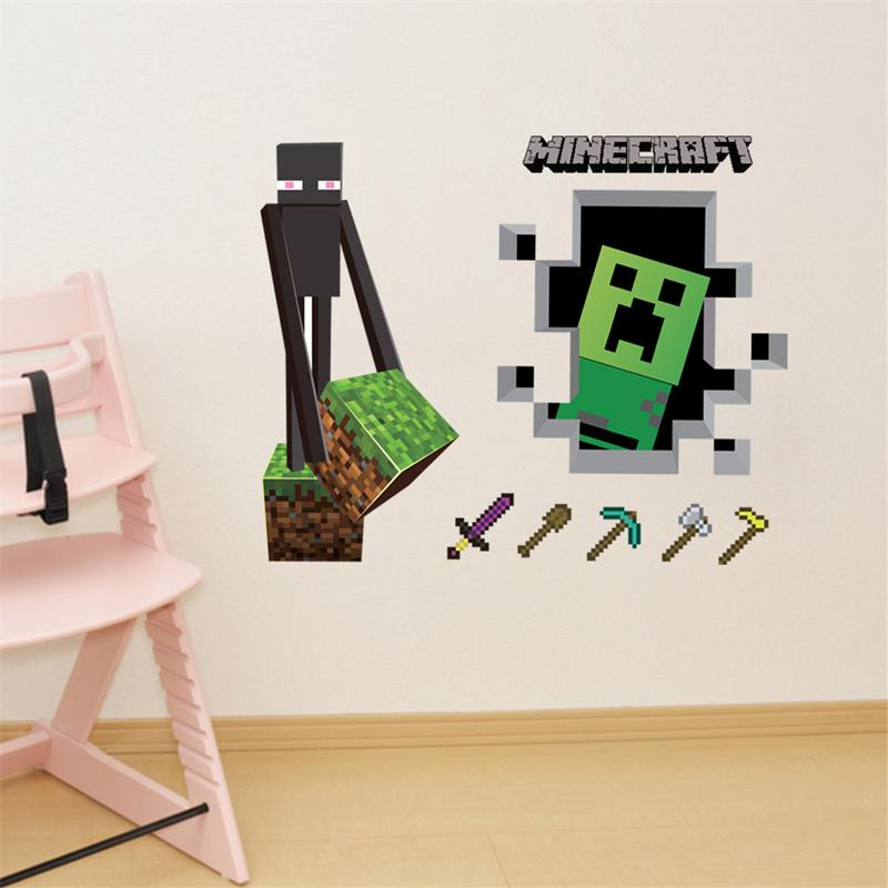 3d wallpaper decals minecraft steve home decor popular games mural