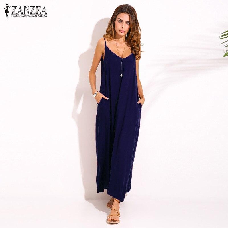 Zanzea 2018 Summer Style Women Boho Strapless Sexy V Neck Sleeveless Dress Casual Loose Long Maxi Solid Dress Vestidos Plus Size 2