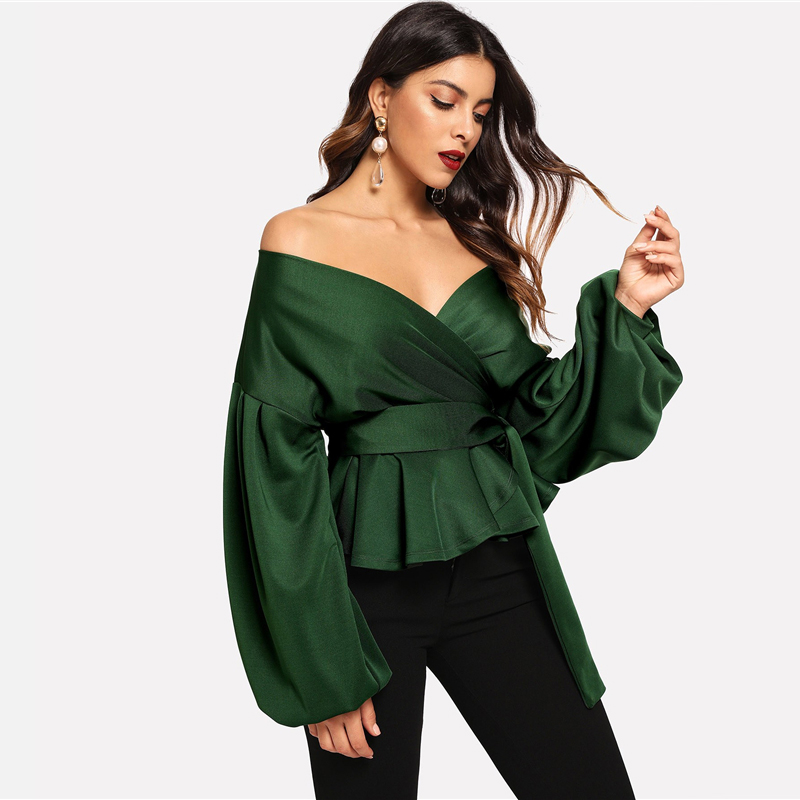 SHEIN White Office Lady Elegant Lantern Sleeve Surplice Peplum Off the Shoulder Solid Blouse Autumn Sexy Women Tops And Blouses 23