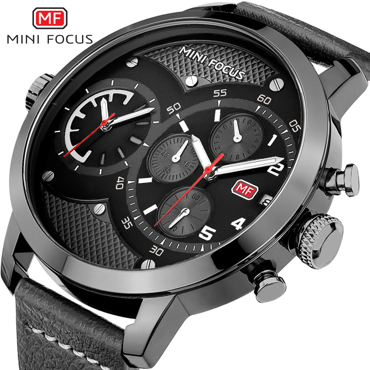 MINI FOCUS Dual Time Chronograph Men's Quartz Sports Watches Men Brand Luxury Big Analog Clock Male Leather Military Wrist Watch