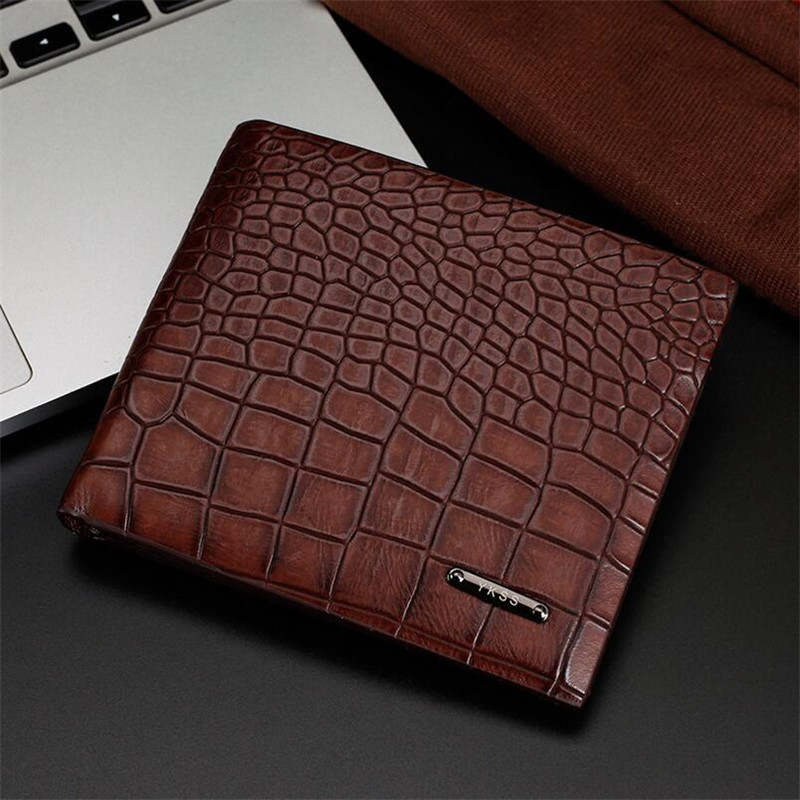 BARHEE Brand Mens Wallets Crocodile Patterns money Purse Billetera Purse for Men Leather Wallet Card Slot bolsos sac a main in Wallets from Luggage Bags