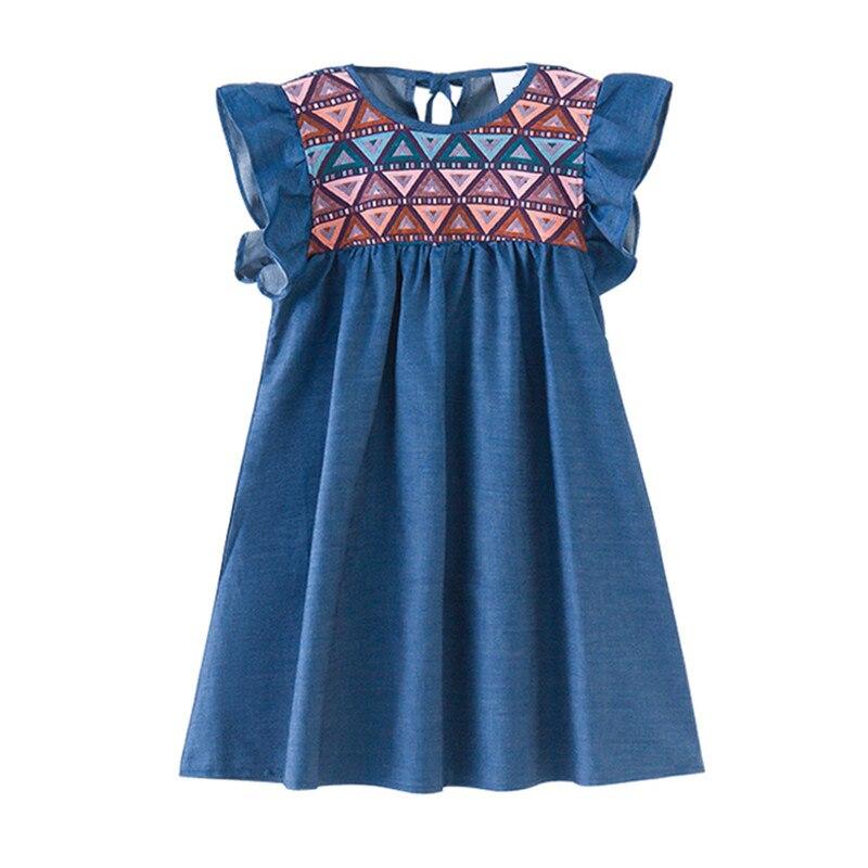 4 to 14 years kids & teenager big girls geoemtric print petal sleeve cotton casual flare dress children princess blue dresses