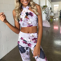Sexy Women Floral Print Yoga Set Patchwork Two Pieces Tracksuits Navel Bare Crop Top Bandage Tanks Skinny Gym Leggings Running