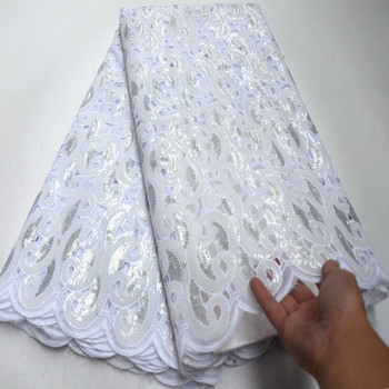 Organza Lace Fabric High Quality White French lace Sequins Fabric Embroidery Tulle Lace Fabric For Wedding DG276