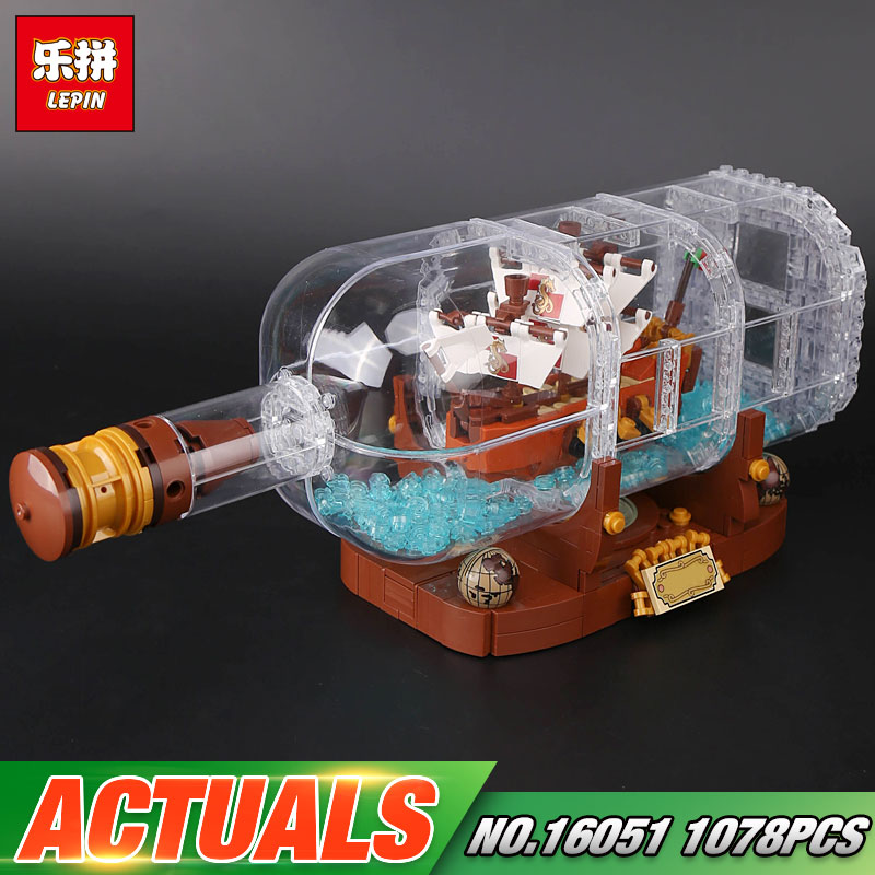 Lepin 16051 New Toys 1078Pcs Movie Series The 21313 Ship in a Bottle Set Building Blocks Bricks Funny Toys Kid Birthday Gifts lepin 16051 1078pcs movie series the 21313 pirate ship in a bottle set building blocks bricks toys birthday gifts