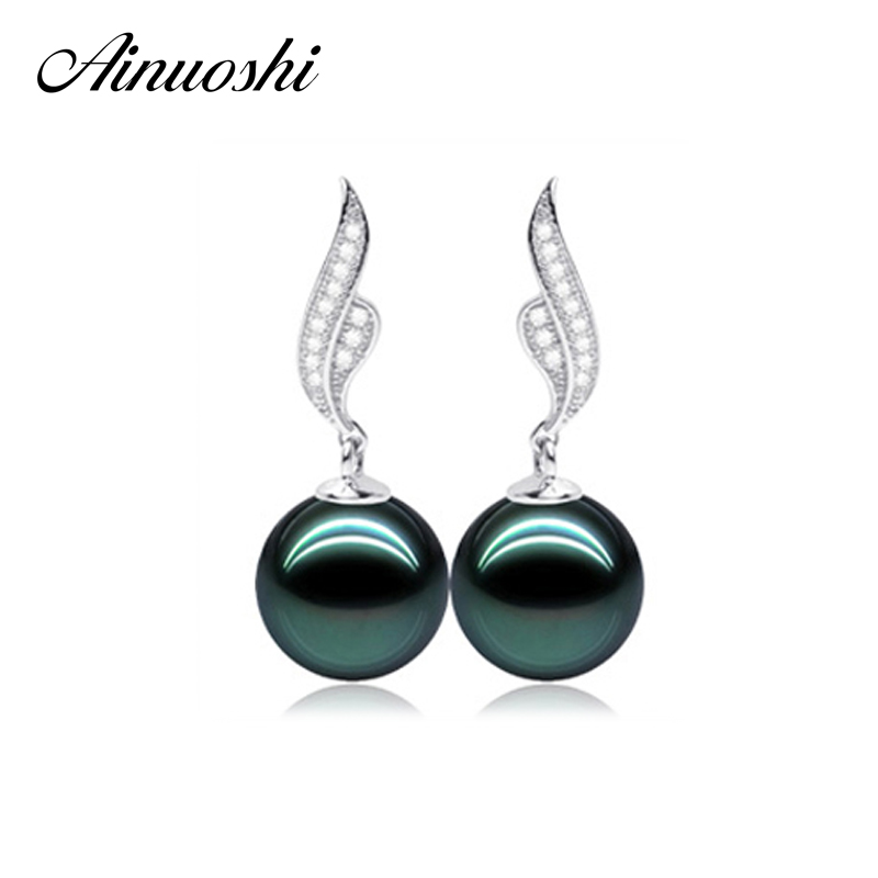 AINUOSHI 925 Sterling Silver Seawater Shaped Earrings 9mm Natural Black Tahiti Pearl Engagement Wedding Women Drop Earrings Gift