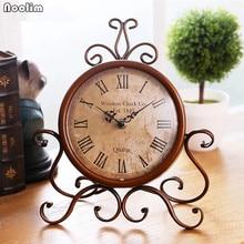 NOOLIM europeo antiguo de lujo de hierro reloj de sala de estar Vintage reloj de mesa retro romano Digital adornos de escritorio