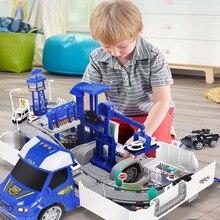 Железнодорожные гоночные треки электрическая машинка игрушки парковка с легкой музыкой собрать контейнер грузовик трек игрушки для мальчиков подарок