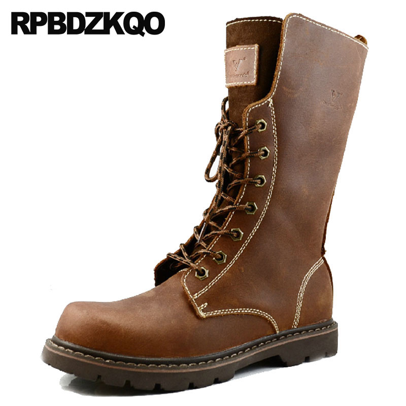Mens Leather Tall Boots Durable Lace Up Full Grain 2018 Mid Calf Military Brown Fashion Fall Combat Luxury Designer Army Shoes mens winter boots warm military mid calf durable army 2017 fashion combat motorcycle high top shoes lace up autumn black male