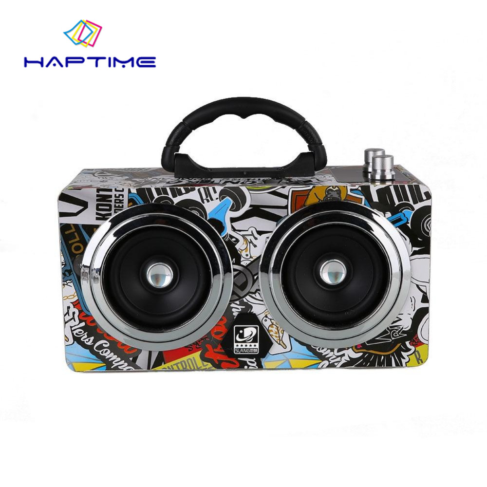 Graffiti Portable Wooden Speaker 20W Wireless Outdoor Radio Bluetooth Speakers Amplifier support TF Card U Disk music player bluetooth speaker u disk tf card music player potable speakers stereo music mp3 players fetal education children subwoofer radio