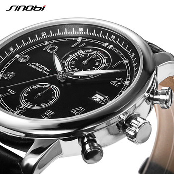 SINOBI Relogio Masculino Men's Military Sports Chronograph Wrist Watches New Arrival 2019 Leather Quartz watch Golden Mens Clock|clock men|clock men military|clock military -