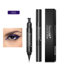 1pcs Double Head Seal Eyeliner Ladies Black Triangle Waterproof Eyeliner 2 In 1 Waterproof Eye Suit with Eyeliner Eyeliner Seal(China)