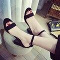 2016 Nuevas mujeres del verano sandalias de plataforma de tacón grueso sandalia estilo Coreano correa de las mujeres sandalias de punta abierta sandalias de plataforma zapatos 12