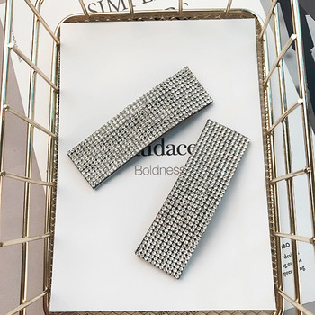 2pcs Fashion Women Shining Rhinestones 8cm Big Size Hairpins Luxury Full Of Crystals Geometric Bobby Pins Big Hair Clips