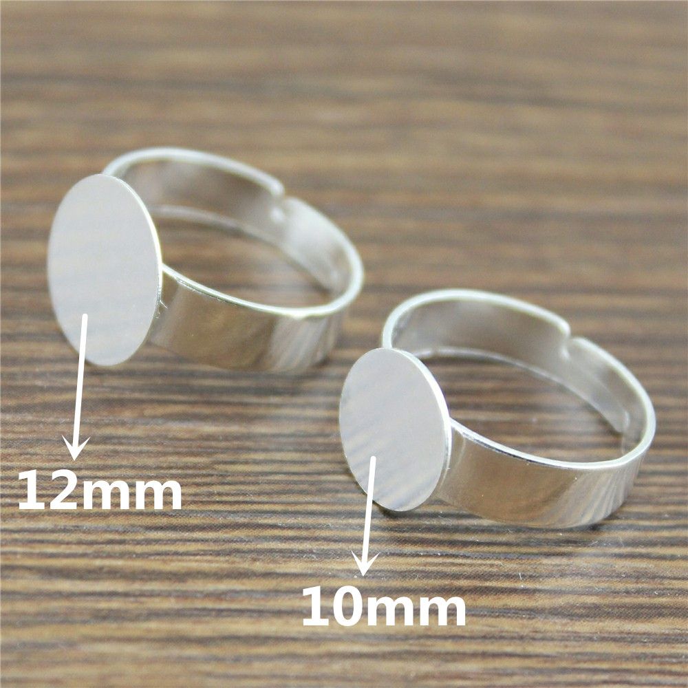 10pcs Adjustable Ring Settings Base Blank Ring Settings Finger Ring Blanks Shiny Silver Color Copper Material 10mm 12mm Flat10pcs Adjustable Ring Settings Base Blank Ring Settings Finger Ring Blanks Shiny Silver Color Copper Material 10mm 12mm Flat
