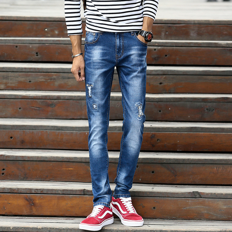 HO new spring 2018 men adolescent personality hole in jeans Cultivate ones morality stretch feet pants